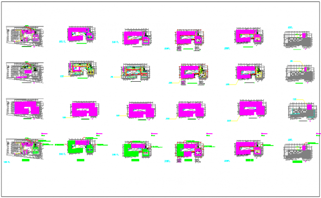 Computer network,telephone and lighting and power electric system plan view for shopping building dwg file