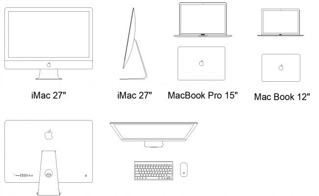 Computers plan detail dwg file.