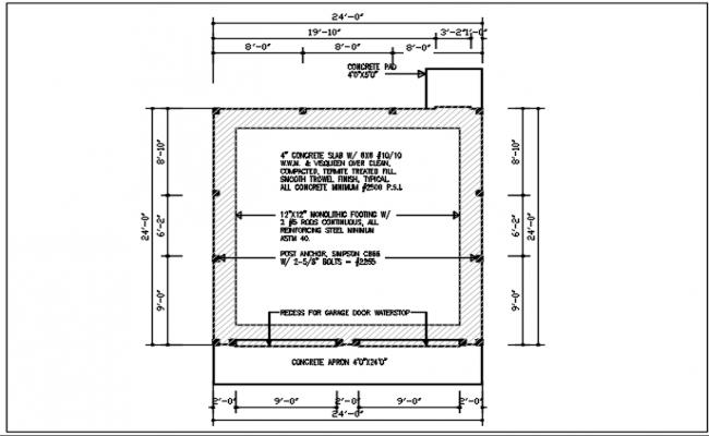 Concert apron plan detail, dimension detail, naming detail, column detail dwg file