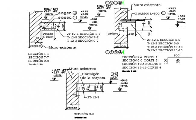 Concert mortar detail dwg file
