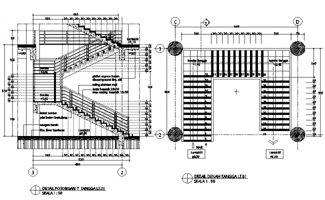 Concert stair plan and section detail dwg file