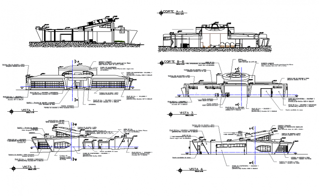 Concessionaire area building architecture view with different elevation and section view dwg file