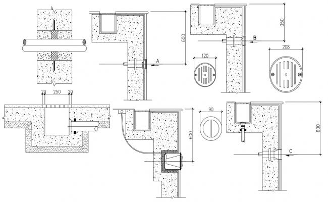 Concrete Pool Channel Design Autocad  Drawings File free