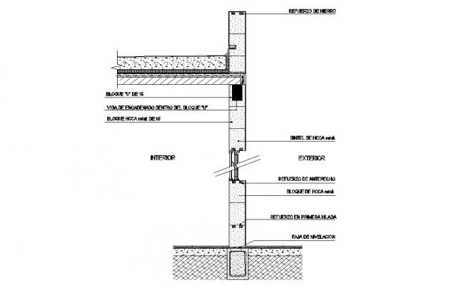 Concrete Wall Section CAD drawing