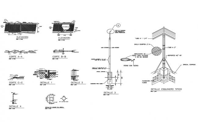Concrete and iron slab of fence construction details dwg file