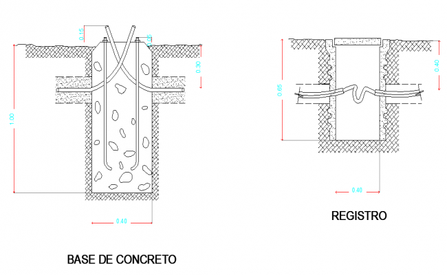 Concrete base and registry plan layout file