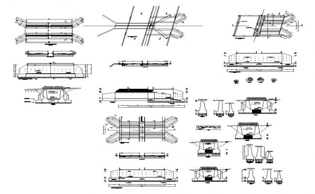 Concrete bridge structure detail elevation and plan 2d view layout dwg file