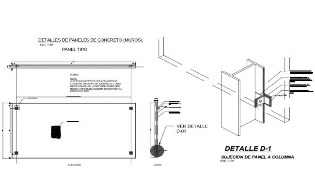 Concrete panel prefabricated wall construction details dwg file