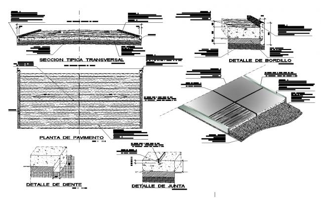 Concrete pavement detail structure layout file in autocad format