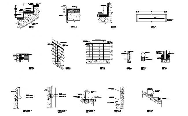 Concrete staircases of building cad construction details dwg file
