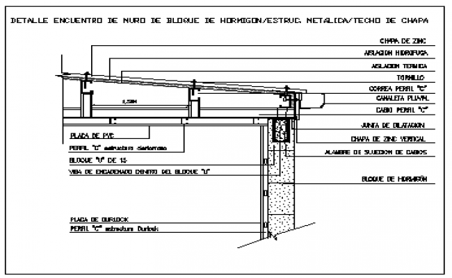 Concrete wall block joint with corrugated steel roof design drawing