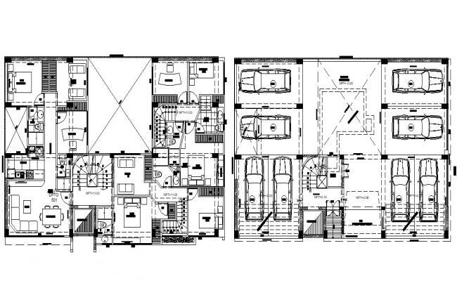 Condominium 2d Furniture Layout Design AutoCAD File