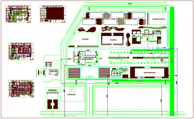 Conference building plan,site plan ,pattern plan view dwg file