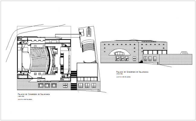 Congress government building with plan and elevation view dwg file