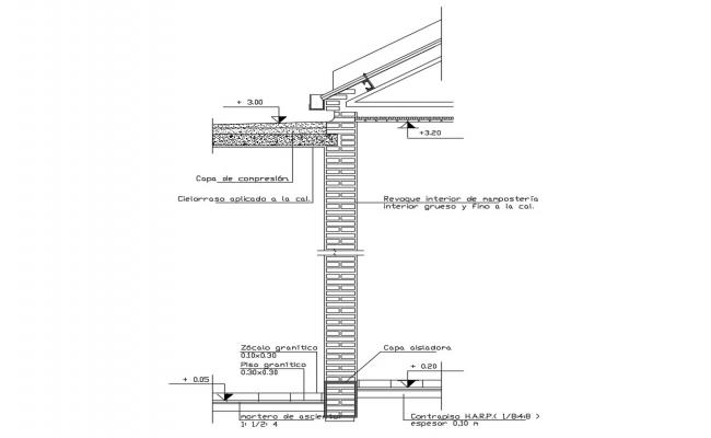 Connection metallic roof and slab cad structure details dwg file