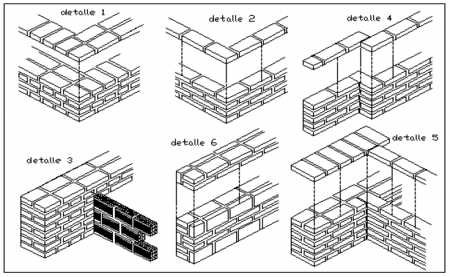 Connection of walls Joint with Isometric view design drawing