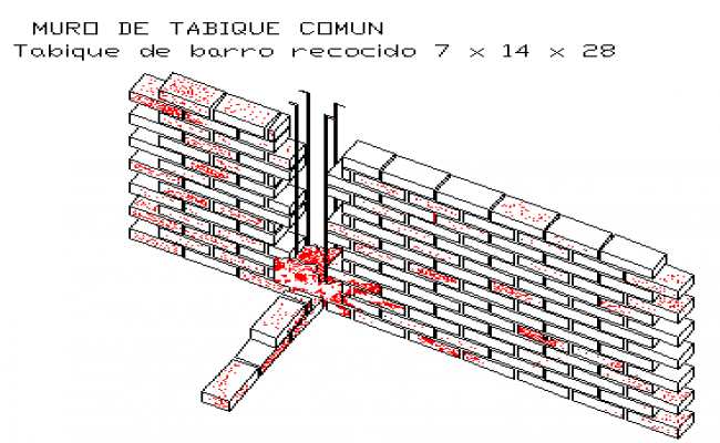 Connection of walls with vertical buttress seismic resistant with Isometric view design