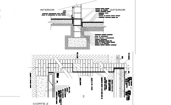 Connection slabs walls foundations autocad file