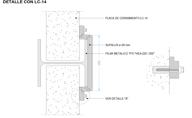 Connection wall plate with metallic pillar plan detail dwg file.