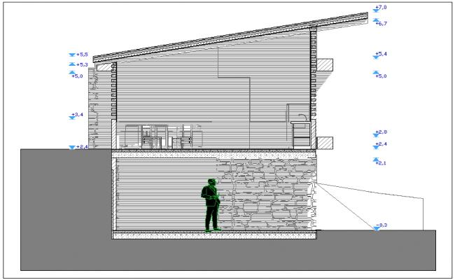 Construction Design of house with side sectional view