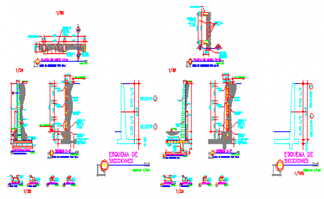 Construction abutment wall details drawing
