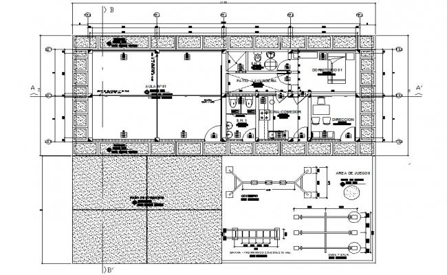 Construction class room primary level for educative institution plan detail dwg file