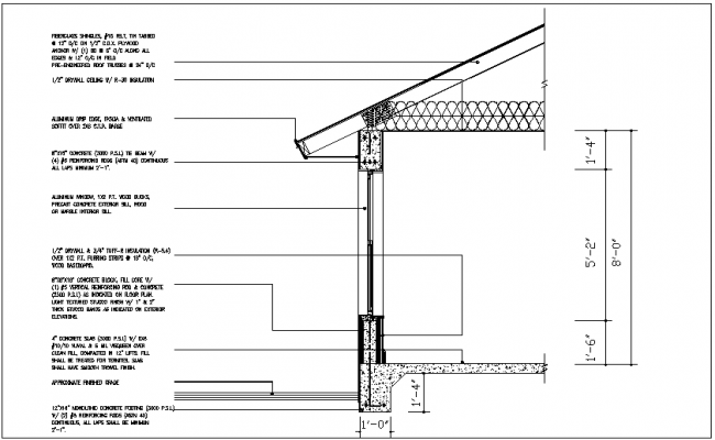 Construction detail  of ceiling and dry wall view dwg file