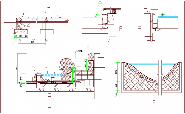 Construction detail and section view of office area dwg file
