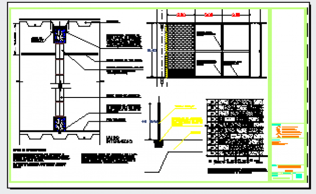 Construction detail of block of wall design drawing