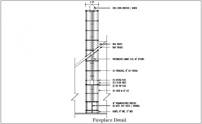 Construction detail of chimney dwg file