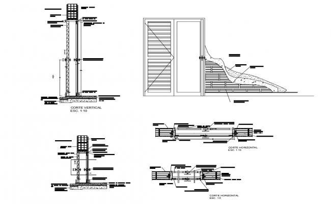 Construction detail of door and window in dwg file