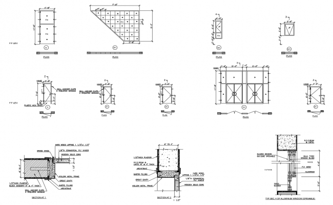 Construction detail of door and windows in dwg file
