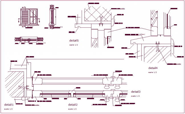 sc 1 st  Cadbull & Construction detail of door with sectional view dwg file