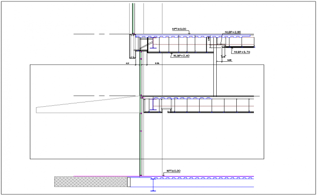 Construction detail of floor and wall dwg file