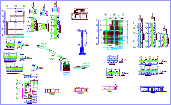 Construction detail of floor plan and section view dwg file