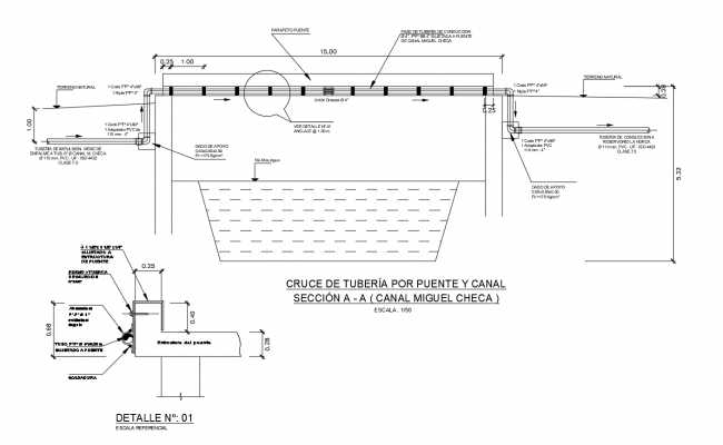 Construction detail of pipeline in AutoCAD