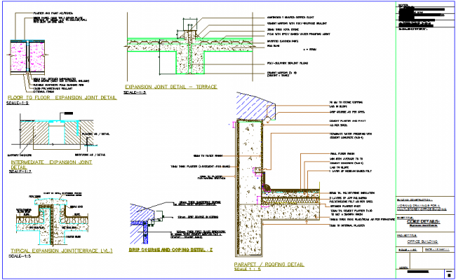 Construction detail of roofing with expansion joint of office building dwg file