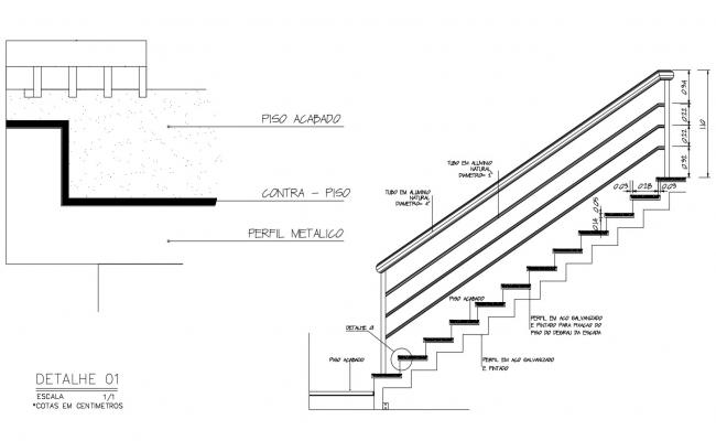 Construction detail of staircase in autocad