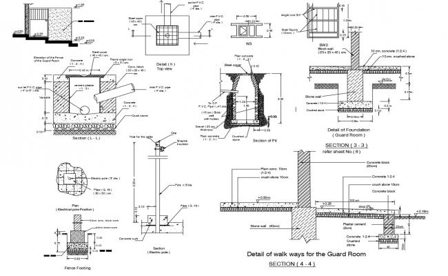 Construction detail of walkway in autocad