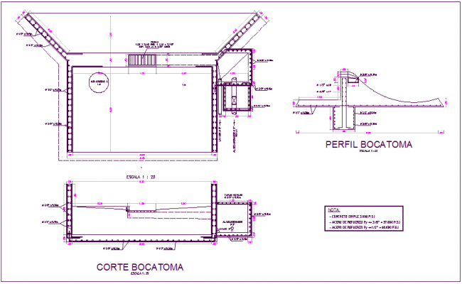 Construction detail of water inlet of bocatoma plant dwg file