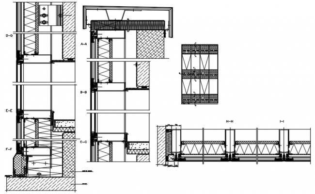 Construction detail of windows in dwg file