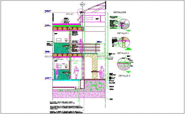 Construction detail view and elevation with slab dwg file