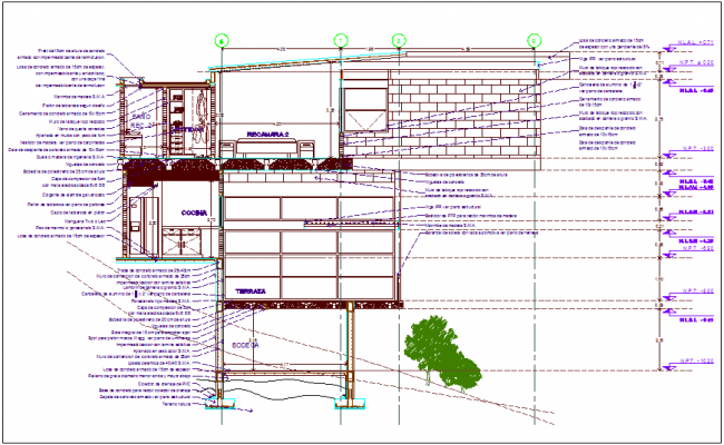 Construction detail view of cutting crane dwg file