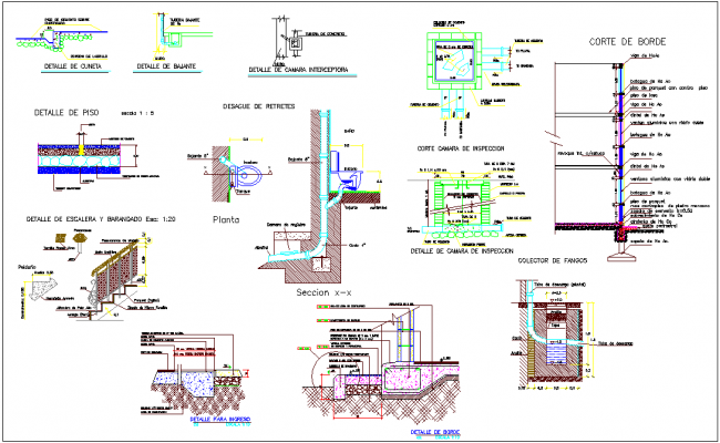 Construction detail view of different foundation view dwg file