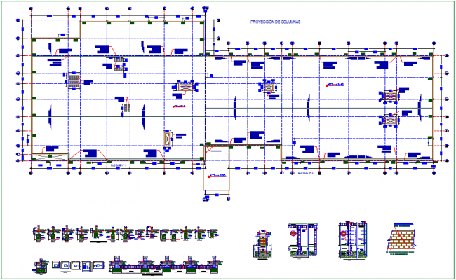 Construction detail with foundation plan with column view dwg file