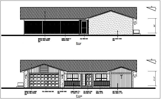 Construction detail with front and rear view of house dwg file