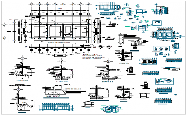 Construction detail with plan and section view of school classroom dwg file