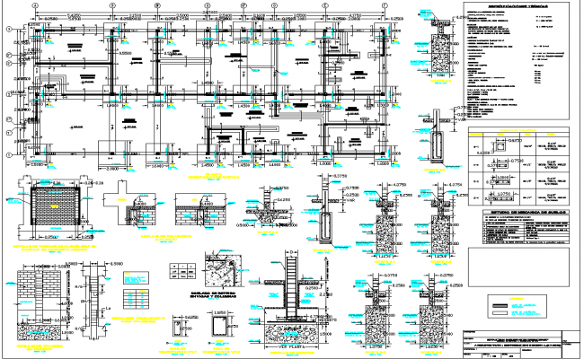Construction detail with wall and column view of education center dwg file