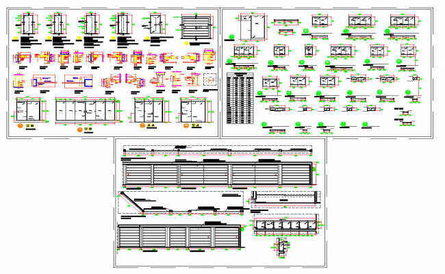 Construction details door windows and railings in autocad dwg files.