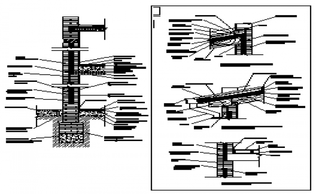 Construction details of foundation design drawing